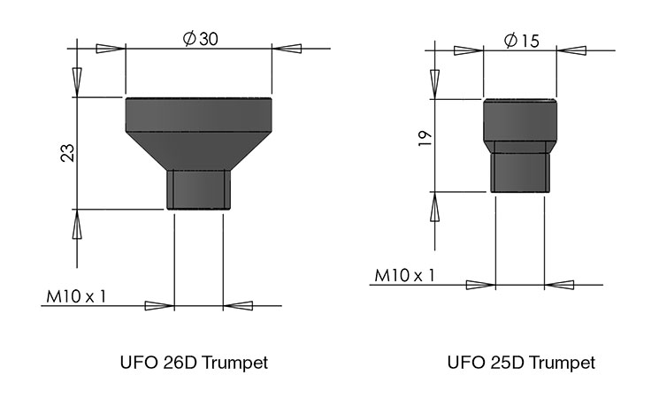 fiber optic rod and clamp trumpets cad image
