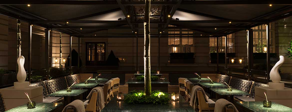 led lighting in the rosewood hotel terrace, london