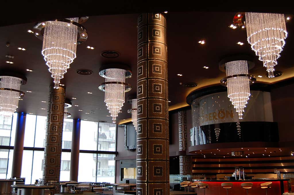 fiber optic chandeliers in the rendezvous casino, leeds
