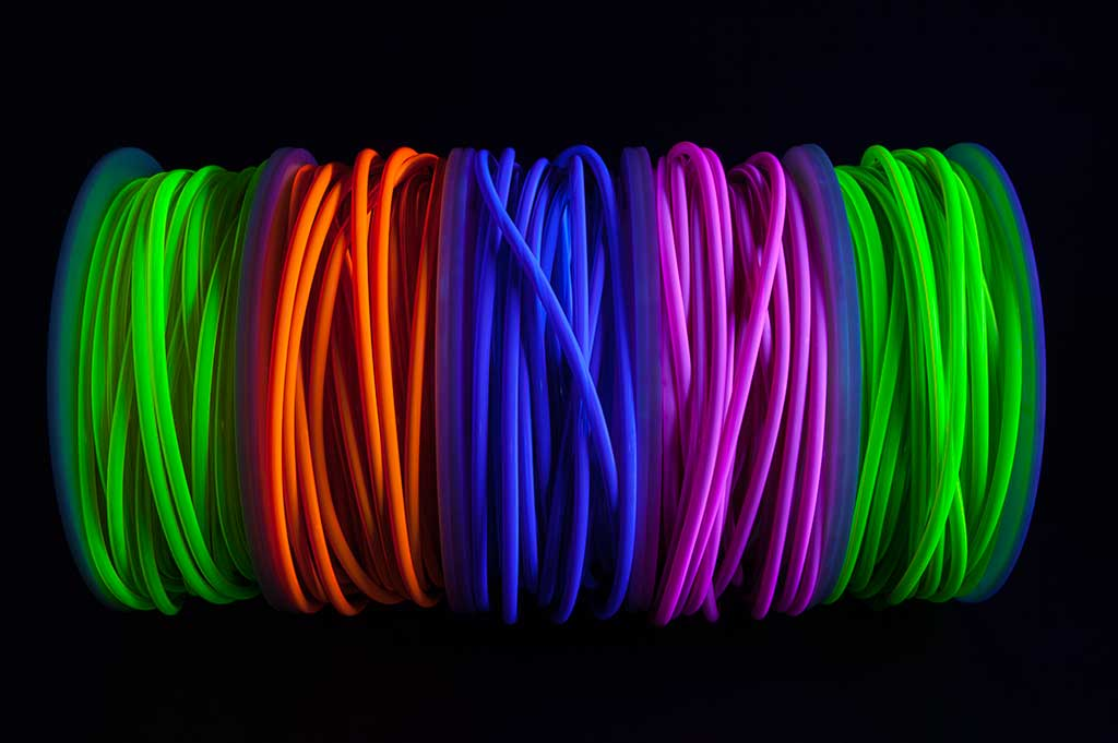 uv reactive tube and cable for sensory use